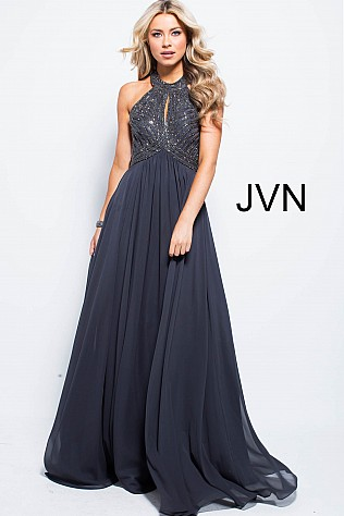 Charcoal High Neck Embellished Bodice Prom Dress  JVN59044