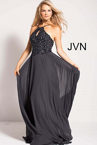 Charcoal Key Hole Neckline Backless Chiffon Prom Dress JVN50069