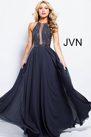 Charcoal Chiffon Embellished Bodice Prom Dress JVN59049