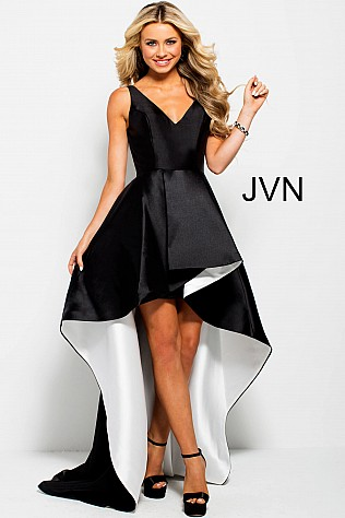 Black and White High-Low Party Dress JVN43016