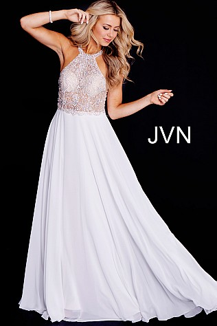 Ivory Embellished Sheer Bodice High Neck Chiffon Prom Dress JVN50064