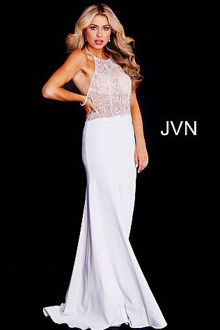 Off White Embellished Halter Neck Bodice Prom Dress JVN53173