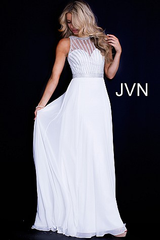 White Chiffon Sleeveless High Neck Prom Dress JVN55925