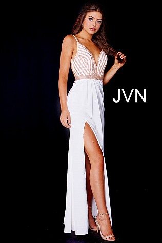 Ivory Gold Embellished Bodice High Slit Prom Dress JVN59052