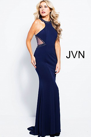 Navy High Neck Fitted Jersey Prom Dress JVN53133
