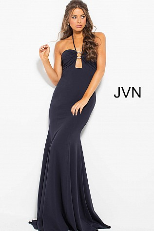Navy Halter Neck Fitted Backless Prom Dress JVN54889