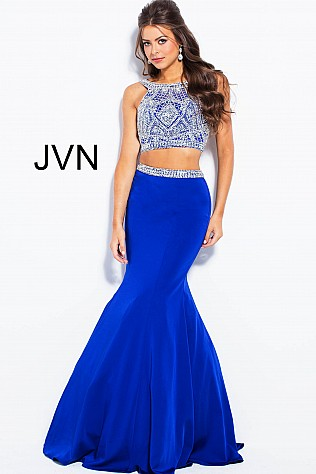 Royal Silver Two Piece Sleeveless Mermaid Prom Dress JVN41441