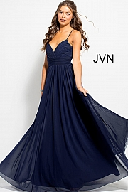 Jvn Navy Mesh Pleated Bodice Prom Gown JVN51188