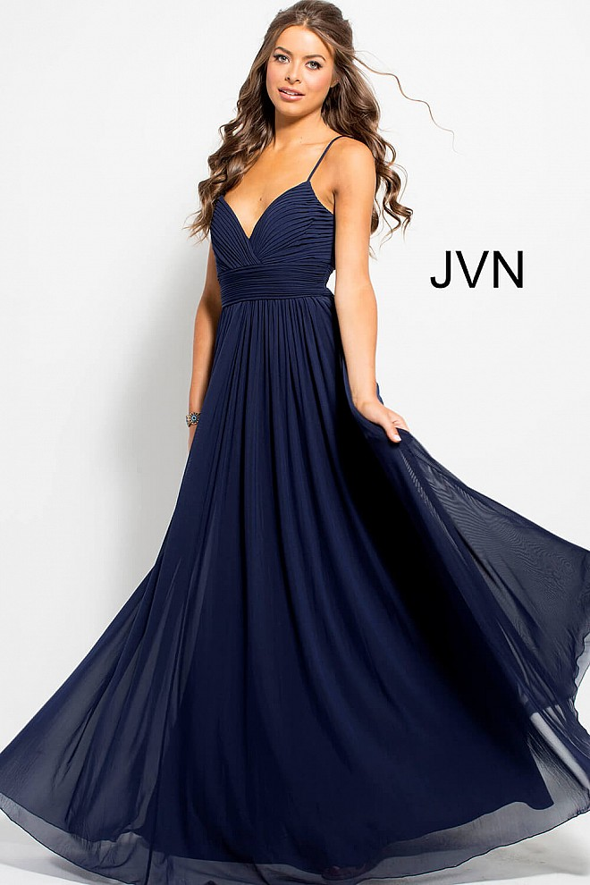 Navy Mesh Pleated Bodice Prom Gown JVN51188