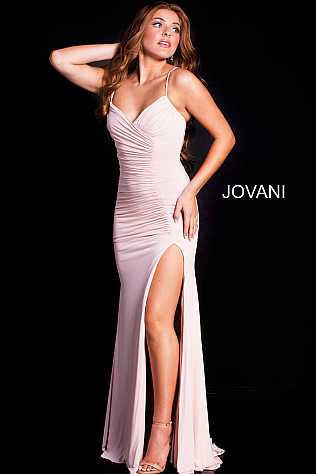 Blush Ruched Bodice Jersey Prom Dress JVN51553
