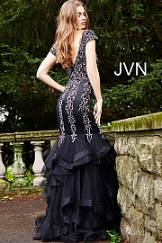 Black Tiered Bottom Cap Sleeve Mermaid Prom Dress JVN55878