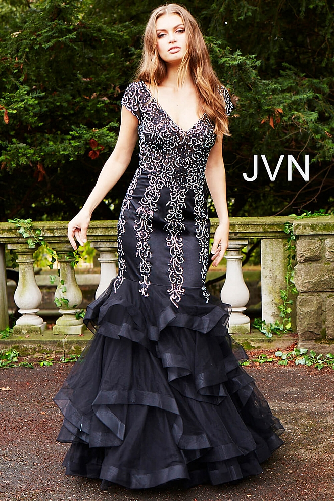 Black Tiered Bottom Cap Sleeve Mermaid Prom Dress JVN55878