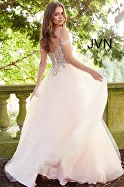Blush Gold Embellished Off the Shoulder Prom Ballgown JVN58403