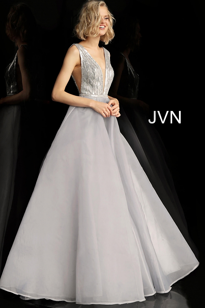 JVN62502 Silver Backless Plunging Neckline Prom Gown