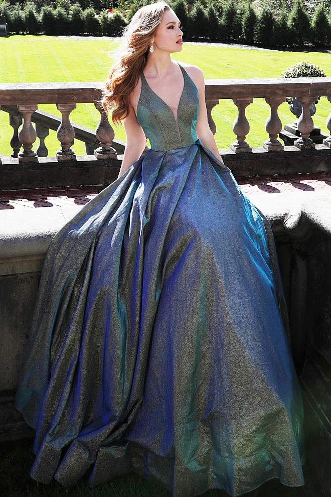 b5483c6cc5d19 Metallic Glitter Blue and Green Plunging Cross Back Sleeveless Prom Gown