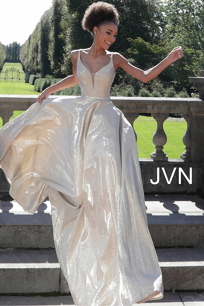 JVN67050 Silver v Neckline Metallic Bridesmaid Dress