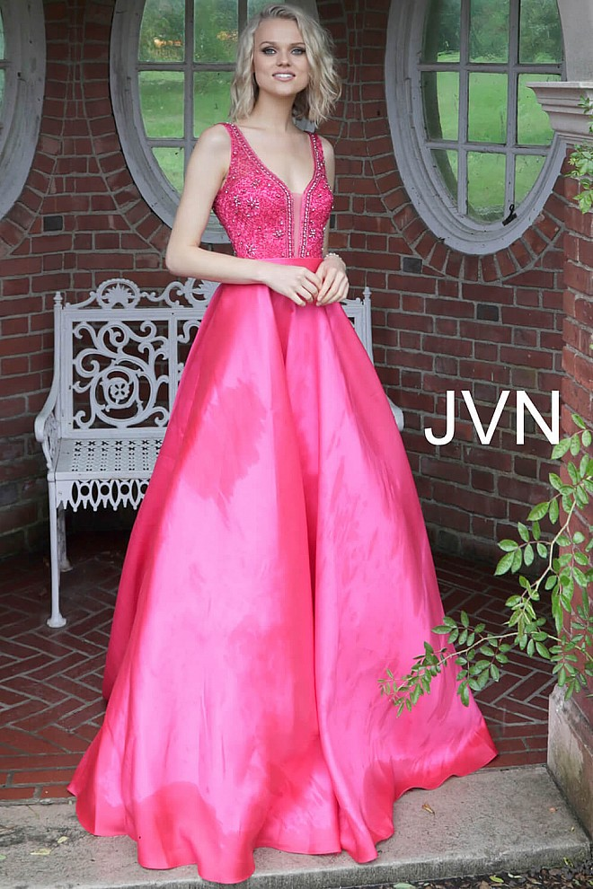 5c227314 Hot Pink Embellished Bodice Pleated Skirt Prom Gown JVN67198
