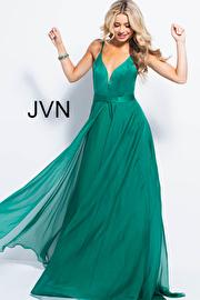 Jvn Emerald Plunging Neckline Spaghetti Straps Prom Dress JVN51181