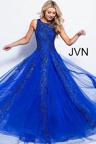 Royal Embellished Sleeveless Tulle Prom Ballgown JVN59046
