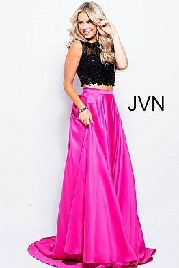 Fuchsia Black Two Piece Open Back Prom Gown JVN50658