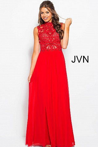 Red High Neck Embellished Bodice Sleeveless Prom Dress JVN55872
