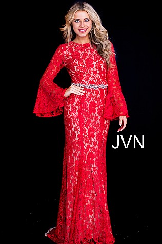 Red Long Bell Sleeve Crystal Embellished Belt Lace Dress JVN58144