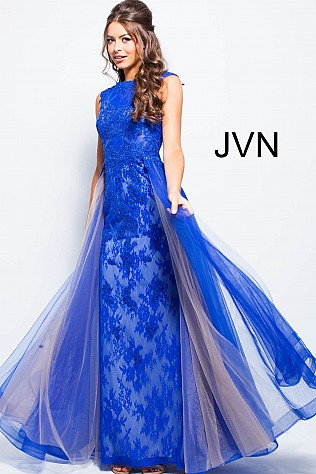 Sky Blue Embroidered Cap Sleeve Tulle Prom Dress JVN58023
