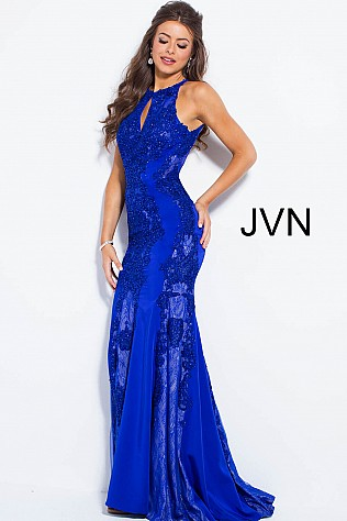 Royal Embellished High Key Hole Neck Fitted Prom Dress JVN55869