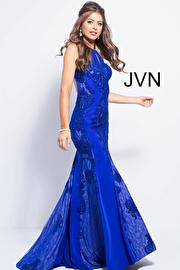 Royal Embellished High Key Hole Neck Fitted Prom Dress JVN55869