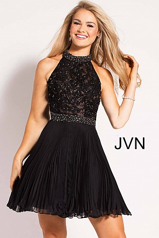 Black Beaded High Neck Bodice Pleated Short Dress JVN53030