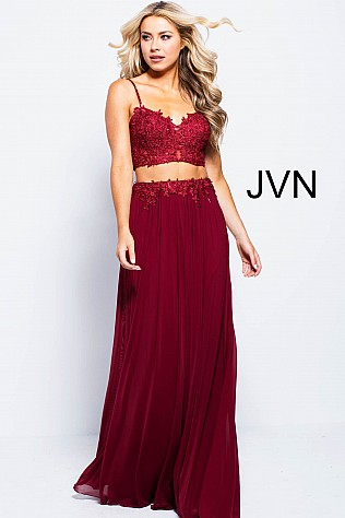Burgundy Two Piece Mesh Prom Dress JVN51117