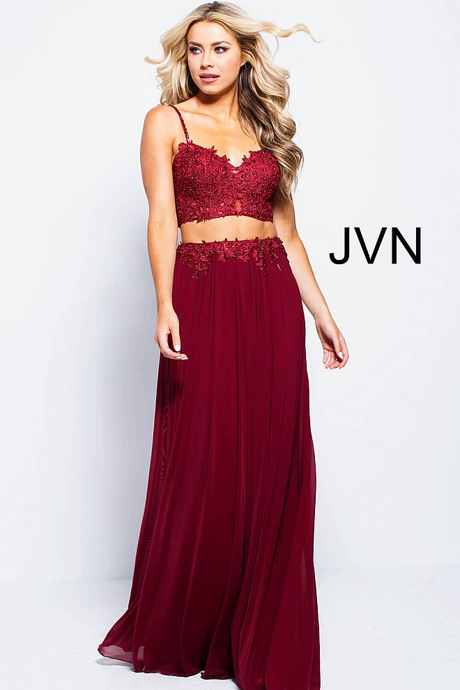 e0d51cbc51d Burgundy long flowy two piece embroidered spaghetti straps dress.