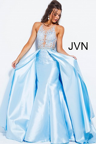 Light Blue A Line Embellished Sleeveless Bodice Prom Gown  JVN47713