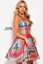 Multi Color V Neck Racer Back Short Dress JVN57121