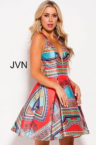 Multi Color V Neck Racer Back Short Dress JVN57121