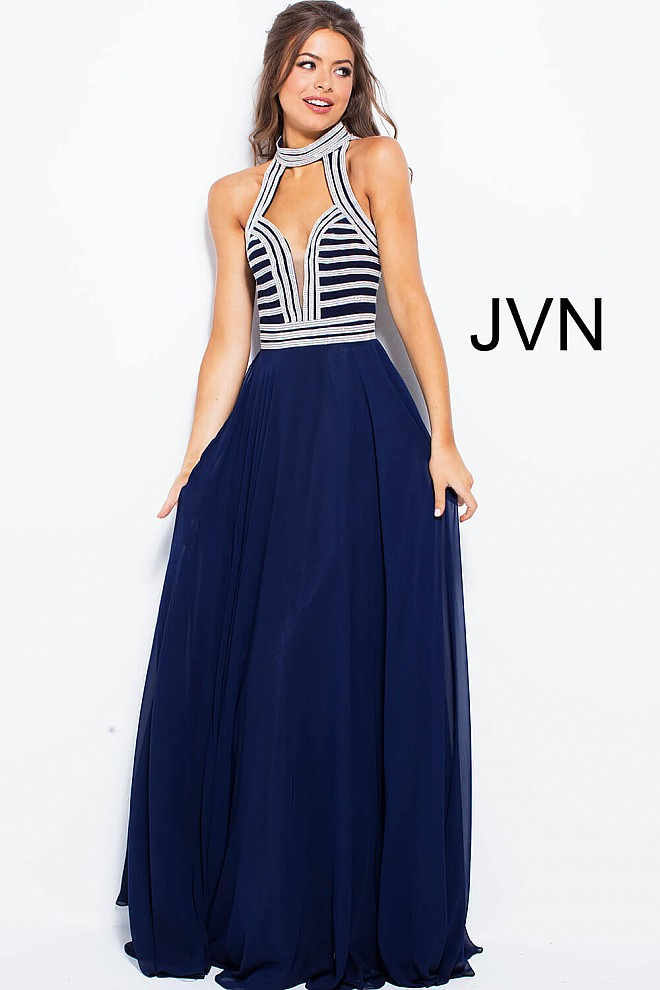 57267a992aa Navy silver embellished long flowy plunging neckline chiffon dress.