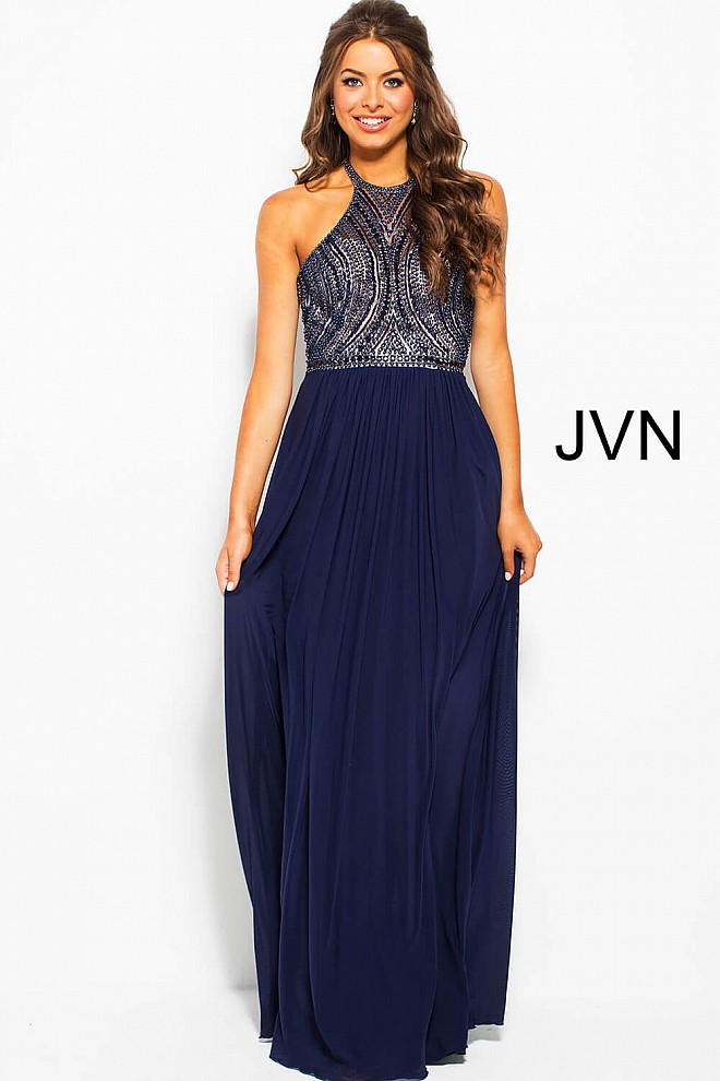 Navy Long Flowy Embellished Backless Mesh Prom Dress