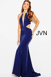 Navy Fitted Cut Outs Embellished High Neck Prom Dress JVN60948