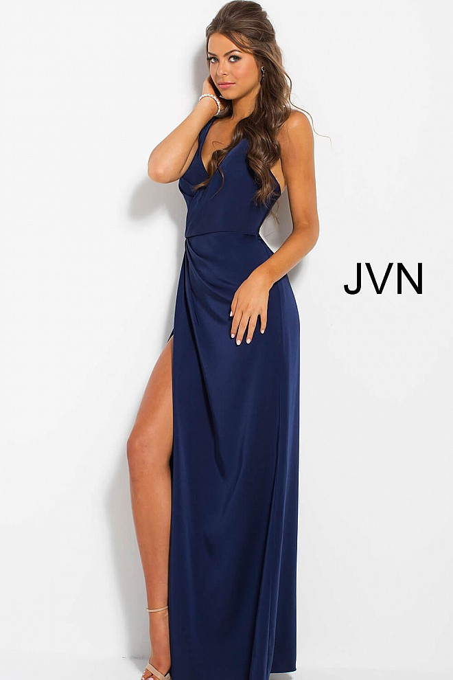 Navy Ruched Bodice V Neck Sleeveless Prom Dress JVN58378