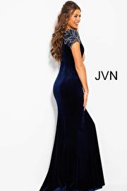 Navy Cap Sleeve Fitted Velvet Prom Dress Jvn41449