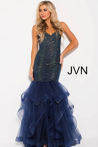 Navy Embellished Tiered Mermaid Prom Dress JVN60604