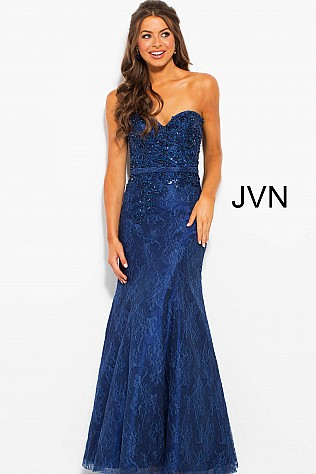 Navy Embellished Lace Strapless Mermaid Prom Dress JVN54528