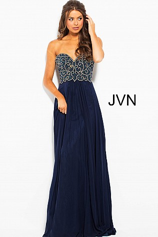 Navy Embellished Strapless Bodice Mesh Prom Dress JVN53367
