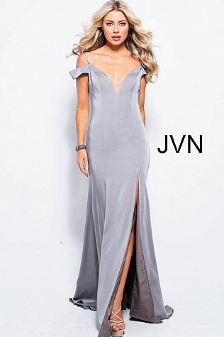 Taupe Off The Shoulder High Slit Prom Dress JVN57297