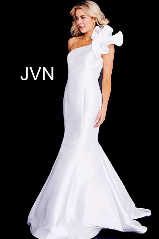 Ivory One Shoulder Ruffle Mermaid Prom Dress JVN57913