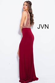 Burgundy Fitted Jersey Embellished Bodice Prom Dress JVN51867