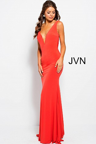 Orange Fitted Backless Plunging Neck Prom Dress JVN47401