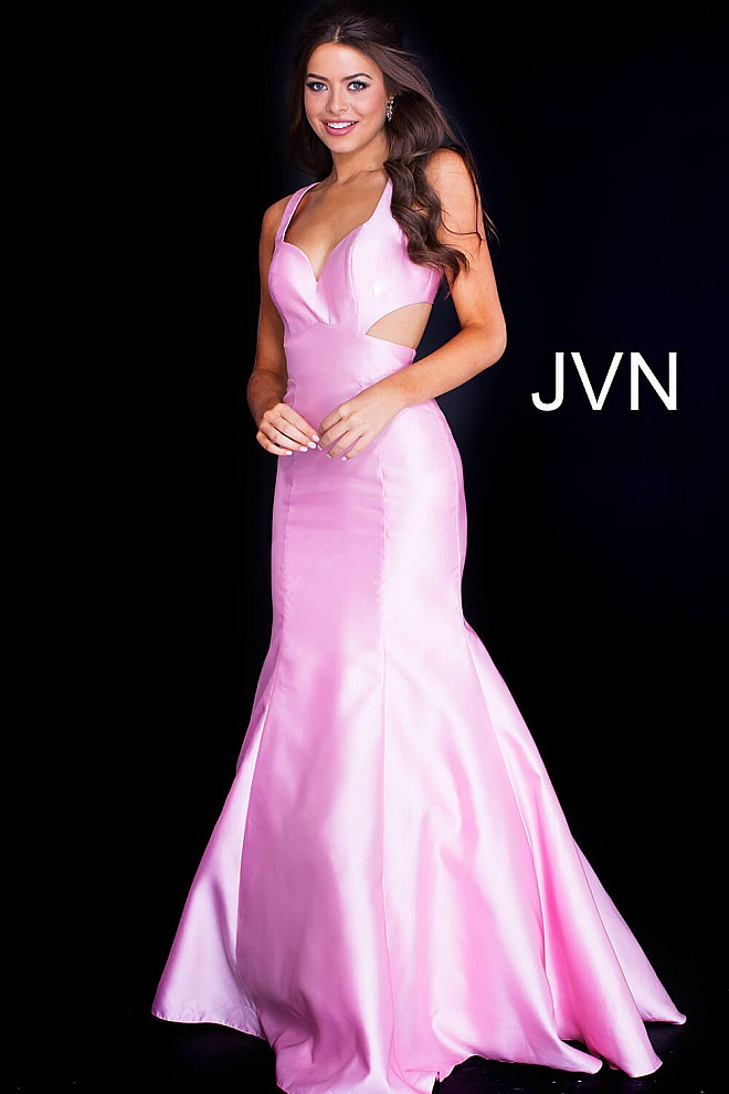 Pink long fitted open low back sleeveless mermaid prom dress.