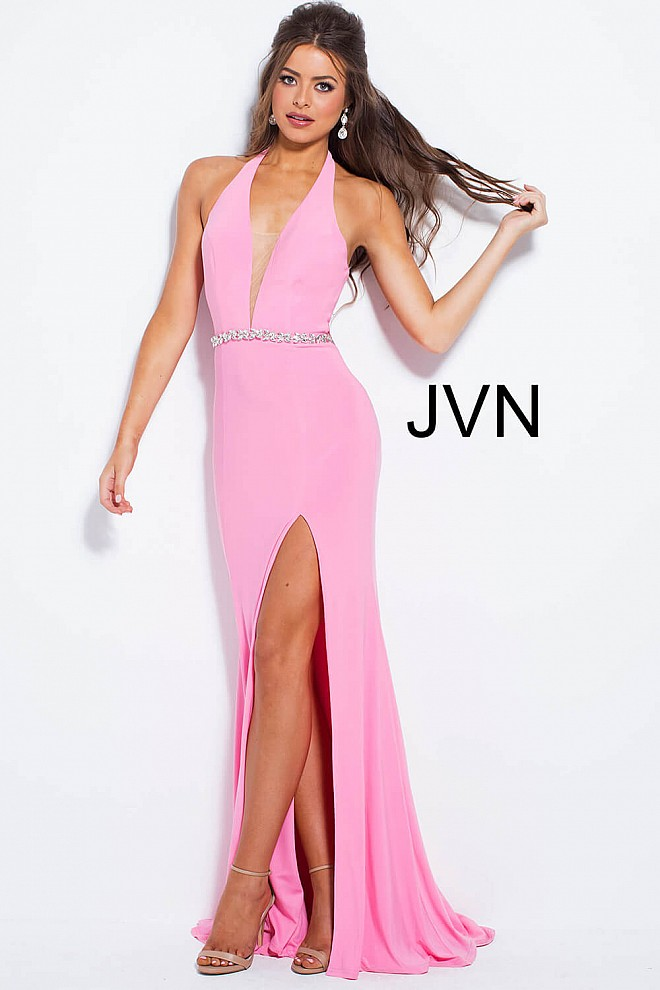 Red long fitted plunging neck embellished belt jersey prom dress