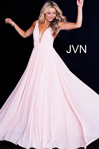 Blush Flowy Plunging V Neck Mesh Prom Dress JVN52179